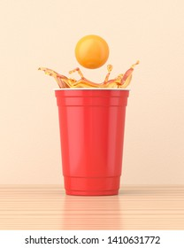 Beer splashing out of a red 16oz 455ml american plastic party cup on a wooden table against a cream wall. 3d render. Front view. Conceptual Scenes Series.