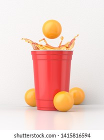 Beer splashing out of a red 16oz 455ml american plastic party cup on a white table surrounded by yellow balls against a white wall. 3d render. Front view. Conceptual Scenes Series.