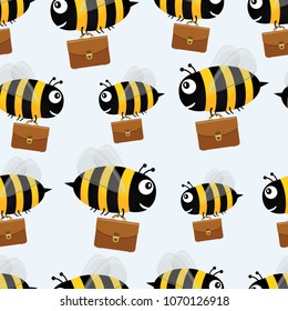 Bees with briefcases. Seamless pattern.
