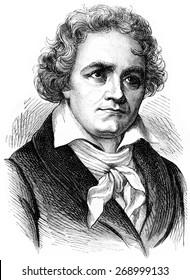 Beethoven, vintage engraved illustration. History of France  1885.