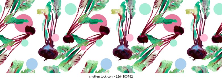 Beetroot seamless pattern, beet with watercolor illustrations, Beet pattern with leaves and purple root.