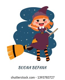 Befana sitting on a broomstick. Ugly witch. Italian Christmas tradition. Holiday theme