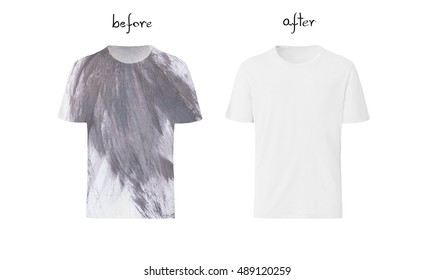 Before and after washing. Stain removal concept.