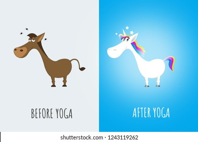 before and after yoga cartoon meme