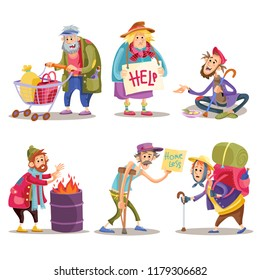 Beggars, homeless, tramps, hobo, funny cartoon set isolated on white background. Hobo with shopping cart, beggar on the street, homeless man warms himself by the fire, bum with crutch