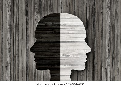 Behavior mental disorder and schizophrenia or split personality illness and mind health psychiatric or psychological disease concept in a 3d illustration style.