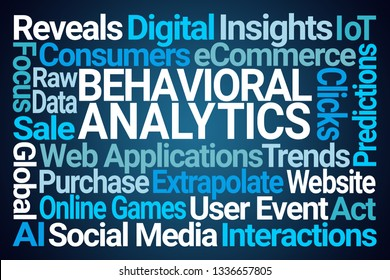 Behavioral Analytics Word Cloud on Blue Background