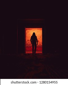 Behind that doors,Stranger walking alone in haunted house,3d illustration