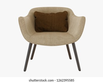 Beige armchair with a brown pillow on white background 3d rendering