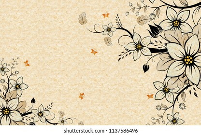 Beige background for interior printing, fabulous flowers and butterflies