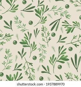 beige background with watercolor nature illustrations. Hand drawn elements: leaves, herbs, plant branches, fresh herbs. illustration for wrapping paper and textile