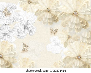 Beige background with beige and white fabulous flowers and golden butterflies