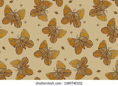 Beige batterfly seamless pattern for fabric, clothes