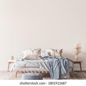 Beige and blue bedroom interior background, 3d render, 3d illustration
