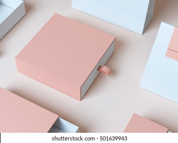 Beige box 3d rendering