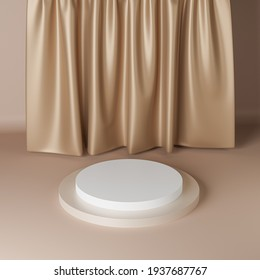 Beige cylinder podium or pedestal for products or advertising near to curtains. 3D rendering.