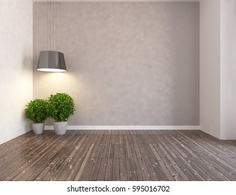 beige empty room interior with plants and white landscape in window. Scandinavian interior design. 3D illustration