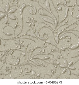 beige floral embossed paper isolated on white background.High-resolution seamless texture