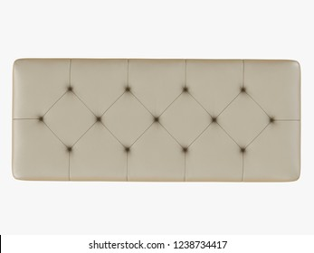 Beige leather bench capitone 3d rendering