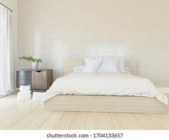 Beige minimalist bedroom interior with double bed on a wooden floor, decor on a large wall, white landscape in window. Home nordic interior. 3D illustration