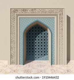 Beige Mosque Arch With Blue Floral And Geometrical Pattern, Stone Carving And Openwork Window. Floral Pattern On The Marble Tiles Floor, 3d