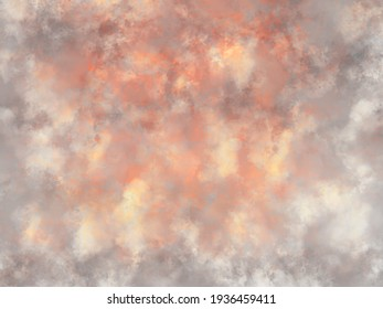 Beige orange red splashed background distressed texture, retro antique background with cloudy borders