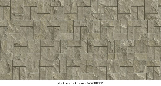 Beige Outdoor Stone Cladding Seamless Texture Tiles Facing House Wall