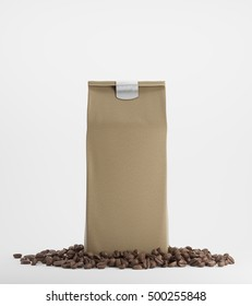 Beige pack of coffee surrounded by coffee beans and standing against white background. 3d rendering. Mock up