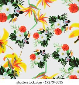 Beige Pattern Textile. Yellow Tropical Leaf. Gray Floral Design. Natural Spring Background. Organic Drawing Leaves. Golden Flora Botanical. Green Flower Design.