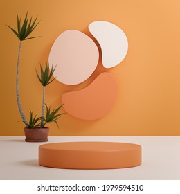 Beige podium stage stand on tropical background for product placement 3d render