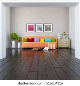 beige room with sofa. Living room interior. Scandinavian interior. 3d illustration