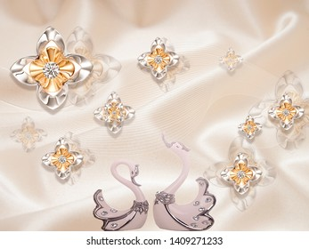 Beige silk background, gilded fabulous flowers, two light pink swans