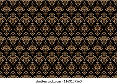 Beige texture on black background. Abstract pattern in Arabian style. Seamless raster background. Graphic modern pattern.