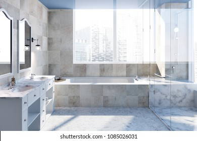 Beige tiled bathroom interior with a large bathtub, a shower and a white marble double sink with two square mirrors hanging above it. 3d rendering