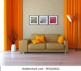 beige wall with orange curtains and sofa. 3d illustration