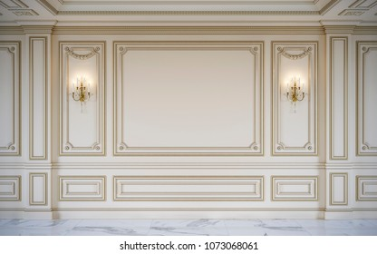 Beige wall panels in classical style with gilding and sconce. 3d rendering