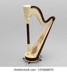 Beige wooden harp with brown isolated on grey background. 3D rendering.