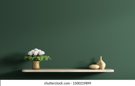 Beige wooden shelf with bouquet of white roses in copper vase over dark green wall, home decor, interior background 3d rendering