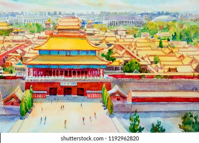 Beijing forbidden city scenery in China. Watercolor painting landscape colorful of architecture high angle view. Hand drawn illustration.