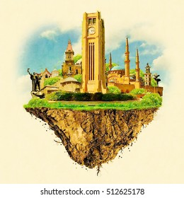 BEIRUT city on floating land high resolution water color illustration