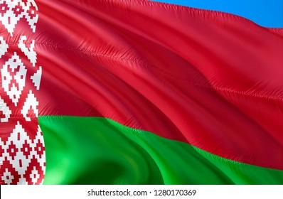 Belarus flag. 3D Waving flag design. The national symbol of Belarus, 3D rendering. Belarusian National colors. National flag of Belarus for a background. Belarus sign on smooth silk