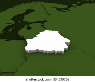 belarus map 3D illustration