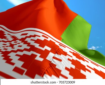 Belarusian flag. 3D Waving flag design. Red, white and green flag. The national symbol of Belarus. National flag of Belarus background. Belarus sign on smooth silk