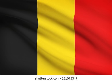 Belgian flag blowing in the wind. Part of a series.