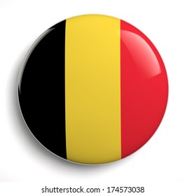 Belgian flag icon isolated on white. Clipping path included.