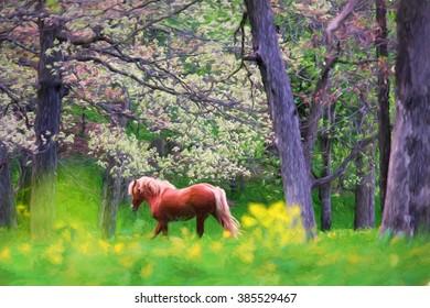 Belgian horse running in the spring woods