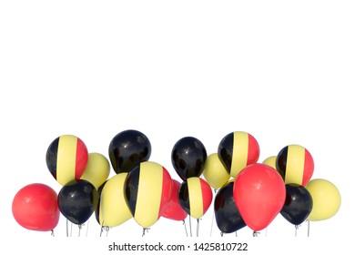Belgian National day. Belgian flags, balloons - 3d illustration