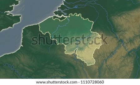 Belgium Topographic Map.Belgium Area Map Azimuthal Equidistant Projection Stock Illustration