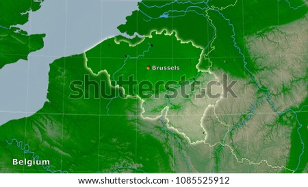 Belgium Topographic Map.Belgium Area On Topographic Physical Map Stock Illustration