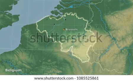 Belgium Topographic Map.Belgium Area On Topographic Relief Map Stock Illustration 1085525861